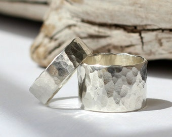 Thick Hammered Sterling Silver Wedding Band Set- Set of 2
