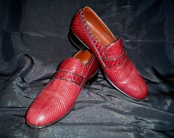 70s 7 1/2 Maxdel Snakeskin Fanacal.s.a. Men's Leather Loafers SHOES Burgundy Red