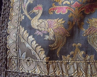 SALE AMAZING 1800s French Ornate Wall Hanging/Tapestry/Runner Metalwork Damask Brocade Textile