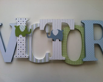 Wooden  letters for nursery in blue and green