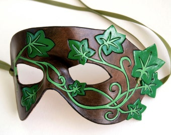 Custom Ivy Vines Leather Mask - Style 1