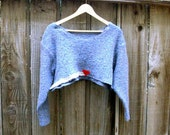 Eco Fashion Unisex Funky Tattered Cropped Sweater Shabby Chic