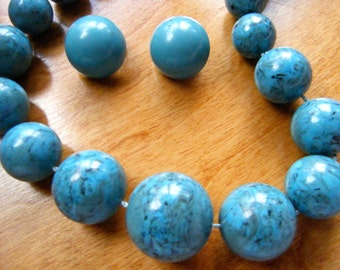 BOLD Blue Vintage Necklace,   Blue Clip on Earrings signed Japan