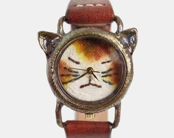 Vintage Retro Steampunk Handcraft Watch with Handstitch Leather Band /// A cute Cat Watch NekoNeko - Perfect Gift for Birthday, Anniversary