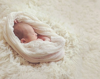 """Hand-Dyed Cheesecloth Wrap--Premium Hand-Dyed Cheesecloth Baby Wrap/Airy Basket Stuffer Photo Prop in """"Baby's Breath"""" Ivory Cream Creme"""