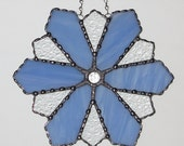 Christmas Holiday Stained Glass Suncatcher - Winter Icy Snowflake