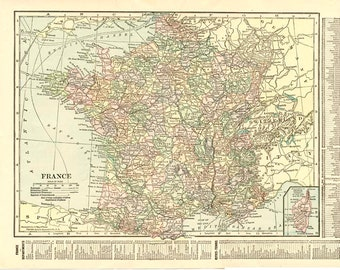 FRANCE ANTIQUE MAP Nelson's Perpetual Loose-Leaf Encyclopedia Page