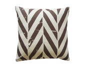 Printed linen decorative pillow cover ZIGZAG brown by Lovely Home Idea
