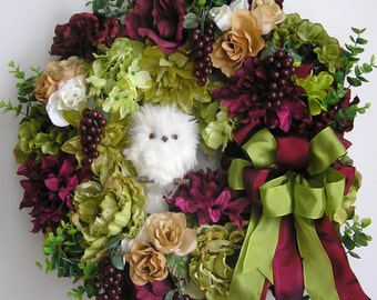 Fall Wreath , Autumn Wreath , Halloween Wreath, Owl Wreath, Grape Wreath, Thanksgiving Wreath, Christmas Wreath
