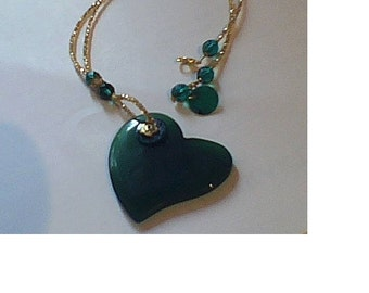 Green agate  heart shape necklace