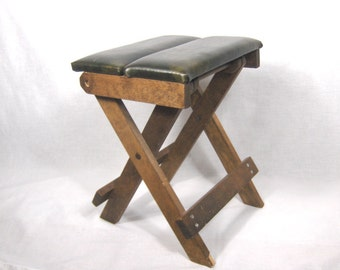 Vintage Tailors Stool Collapsible Wood and Vinyl Upholstery Bench Sewing Stool Alterations