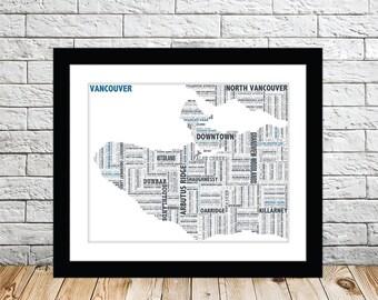Vancouver Typography Map 8x10 Print