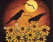 Original Hand Painted Mini Canvas with Easel - Folk Art Crows, Sunflowers, Full Moon
