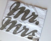 SALE Mr Mrs, His and Hers Pillow Cases Pair - Wedding, 2nd Anniversary, Housewarming