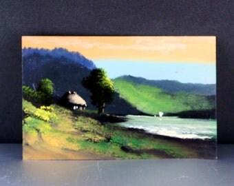 JAPANESE  POSTCARD. hand painted oil painting. japan. oriental No.002034
