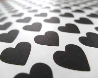 Black Heart Sticker, Mini Heart Stickers - Made to Order