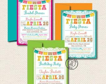 Fiesta Party Invitation - 25 Custom Invitations with Envelopes