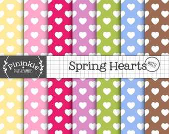 Heart Digital Papers, Valentine Digital Papers, Instant Download, Commercial Use, Digital Scrapbooking, Cardmaking,Spring Digit