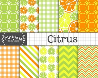 Digital Scrapbook Paper, Citrus Digital Paper Pack, Summer Digital Paper, Orange, Yellow, Green, Lemon and Lime Scrapbook Paper