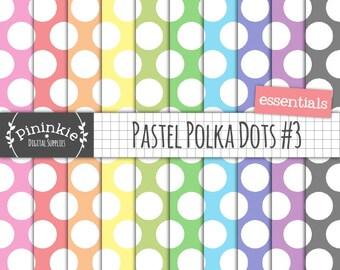 Large Polka Dot Digital Paper, Pastel Polka Dot Scrapbook Paper, Instant Download, Commercial Use