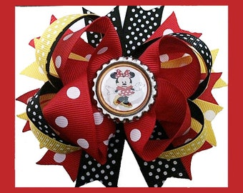 """Red Yellow Black Polka Dot Minnie mouse inspired Hair Bow Grossgrain Loopy Bottlecap Boutique Handmade girls 4"""""""