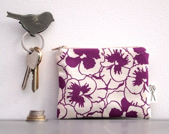 Coin Purse Pansy Print