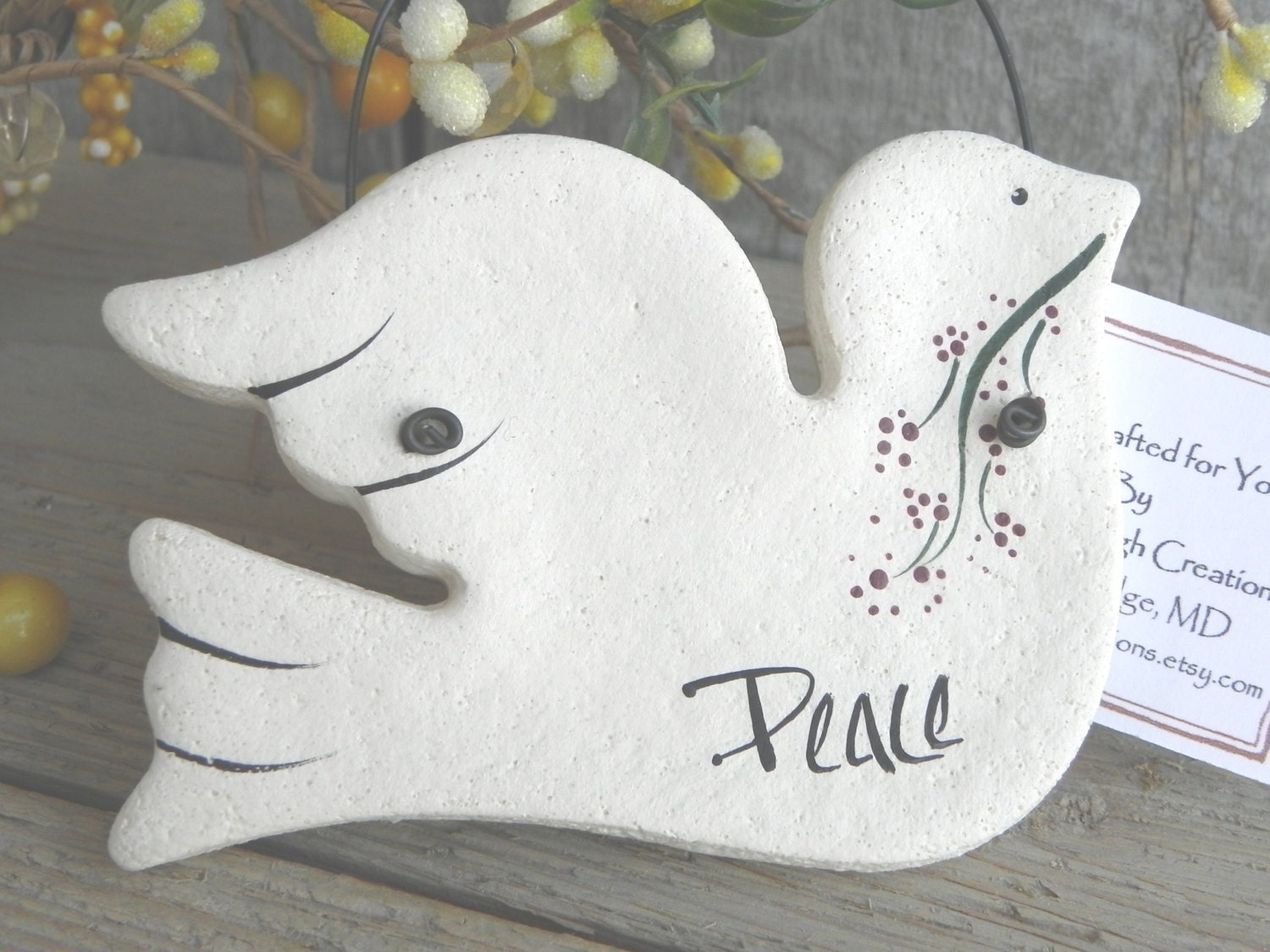 White dove ornament - Peace Dove Baptism Salt Dough Ornament Easter Christening Christmas Ornament