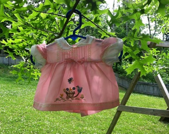 Styled By Cradle Togs 3-6 months Pink Sheer Baby Dress/Top with Appliquéd Bird with a flowers