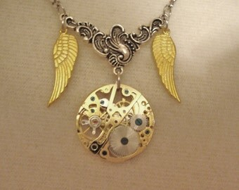 Steampunk Necklace, Wings of Time TimeLess TimePiece, Silver and Gold,gears, wings,watch components, boho, avante garde
