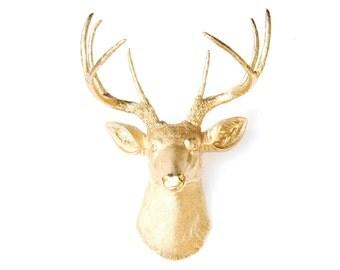 Deer Head Wall Mount - Metallic Gold - Deer Head Antlers Faux Taxidermy D0808