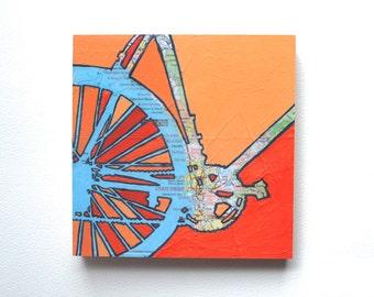 Bike San Diego mounted print -San Diego, La Jolla, Del Mar, Coronado, Carlsbad, San Clemente, California bicycle art mounted to wood