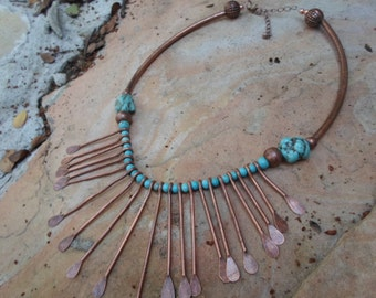 Copper and Turquoise  Southwest Choker Necklace