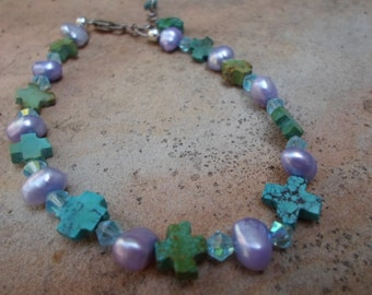 Turquoise Cross and Pearl Bracelet