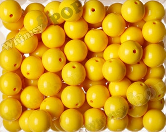 20mm - 10 PACK of Sunny Yellow 20mm Gumball Beads, Chunky Acrylic Beads, 20mm Chunky Beads, 20mm Beads, Bubble Gum Beads, Bubblegum 2mm Hole