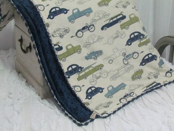 Car Blanket: Minky Baby Blanket Vintage Cars Minky Blanket 30 X