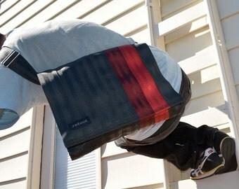 Crossbody Bag - Laptop Case - Seat Belt Messenger Bag - Oxblood and Cranberry Red Seatbelt Bag (M-7)