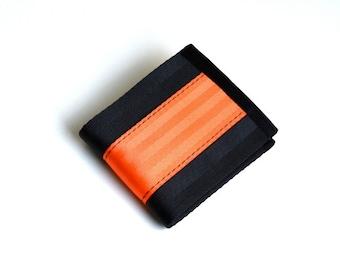Vegan Billfold Wallet - Black and Orange Seatbelt Webbing - Velcro Wallet (SBW-V3)