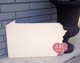 Custom Wooden State Wedding Guestbook - 2 ft Pennsylvania in Distressed Ivory - any state/country available in many colors