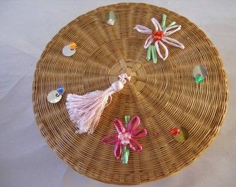 Vintage Wicker Sewing/Storage Box Basket