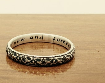 Custom made petite pattern floral ring in sterling silver, personalised message option available