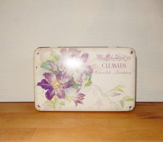 Vintage Collectable Tin Macrobertson Tin Clematis Tin