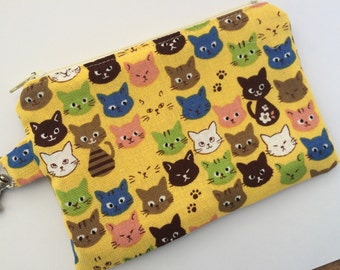 Kawaii Kitties Small Zippered Pouch, Available in Four Colors