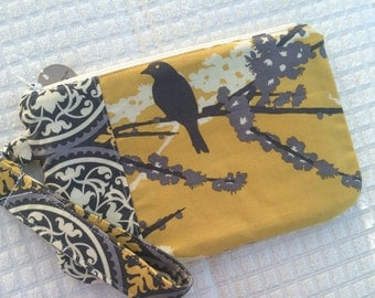 Yellow and Gray Sparrows Wristlet