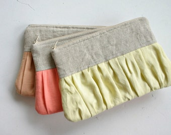 SET of 3 Linen bridesmaid Ruched clutch bags pleated linen choose your colour bridal clutch