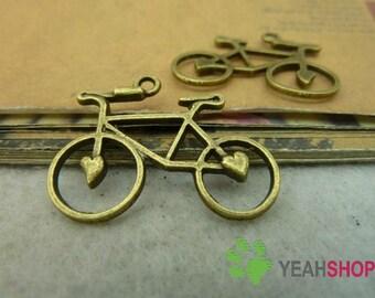 Antique Brass Metal Pendants - Bicycle - 23mmx30mm - 10 PCS (JP7)*