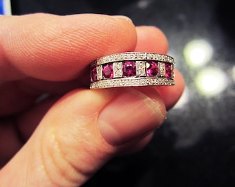 ON SALE - Exquisitely Beautiful 18k White Gold Damiani Diamond and Ruby Ring