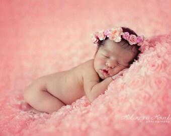 Newborn Flower Halo. Baby Flower Halo. Newborn Flower Tieback. Baby Flower Tieback. Childs Flower Halo. Newborn Photography Prop.UK SELLER