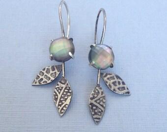 Leafy Dangles - Mother of Pearl/Quartz