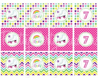 RAINBOW ROLLERSKATE cupcake toppers - You Print