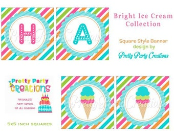 BRIGHT ICE CREAM collection - square banner - 5x5 inches - You Print - Instant download